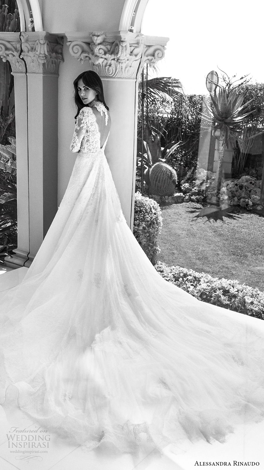 alessandra rinaudo 2018 bridal half sleeves v neck heavily embellished bodice elegant a line wedding dress open v back royal train (03) bv