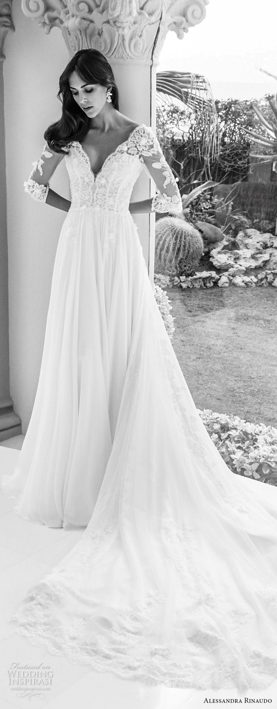 alessandra rinaudo 2018 bridal half sleeves v neck heavily embellished bodice romantic soft a line wedding dress open v back chapel train (26) mv