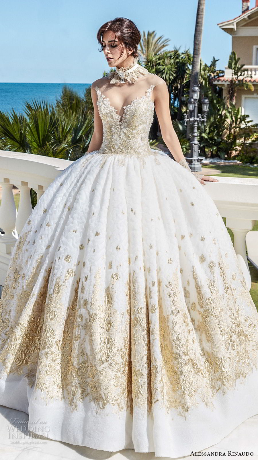 alessandra rinaudo 2018 bridal illusion strapless sweetheart neckline heavily gold embellished bodice princess ball gown wedding dress sheer rasor back sweep train (41) mv