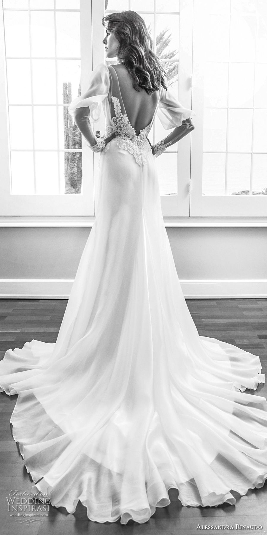 alessandra rinaudo 2018 bridal long mutton sleeves deep v neck heavily embellished elegant vintage soft a line wedding dress low open back chapel train (07) bv