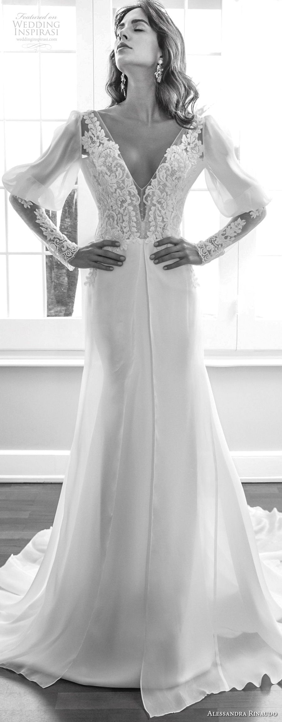 alessandra rinaudo 2018 bridal long mutton sleeves deep v neck heavily embellished elegant vintage soft a line wedding dress low open back chapel train (07) mv