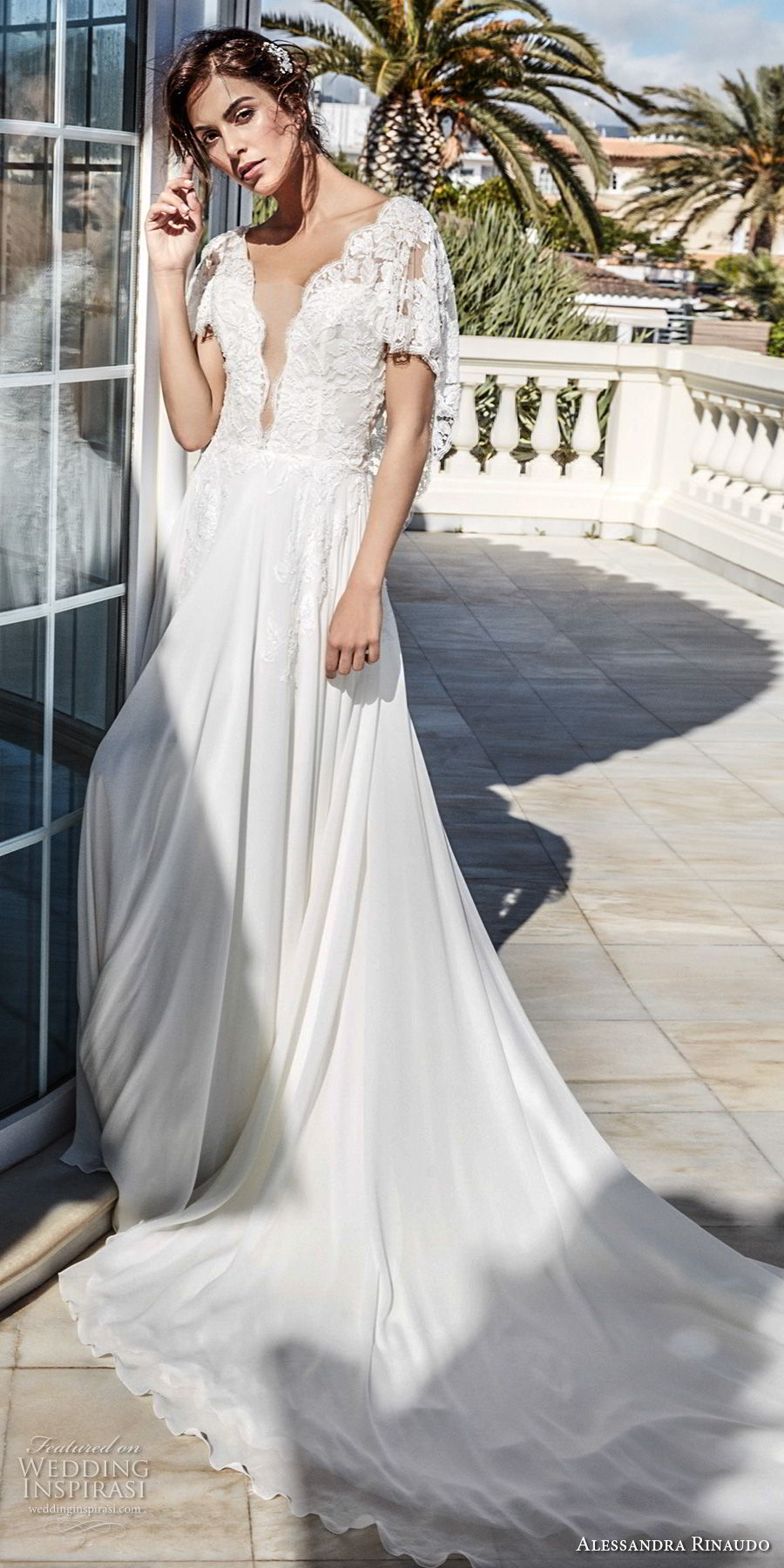 alessandra rinaudo 2018 bridal short butterfly sleeves deep plunging v neck heavily embellished bodice romantic soft a line wedding dress open v back chapel train (22) mv