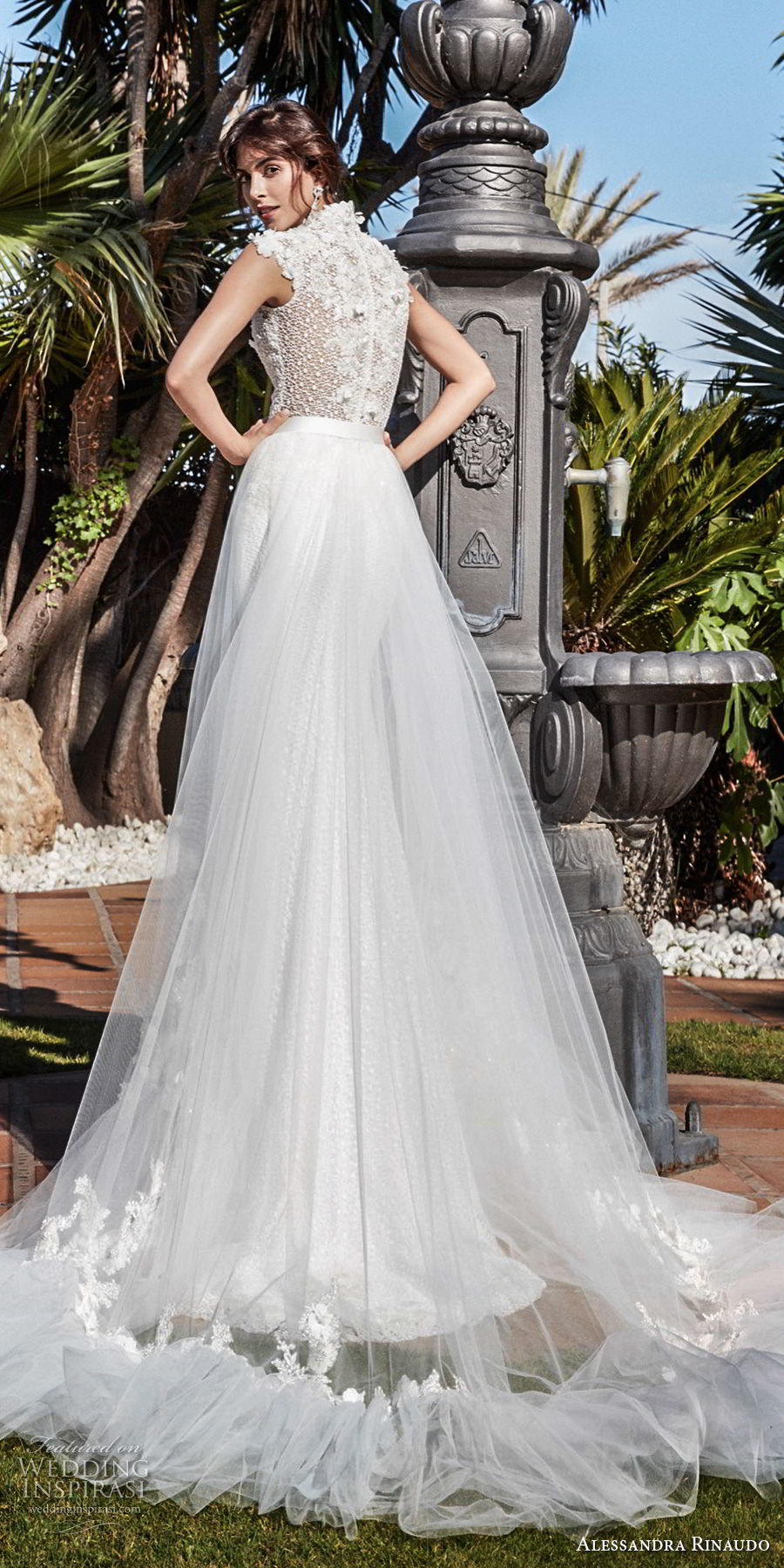 alessandra rinaudo 2018 bridal sleeveless deep v neck heavily embellished bodice elegant fit and flare wedding dress a line overskirt covered lace back chapel train (13) bv