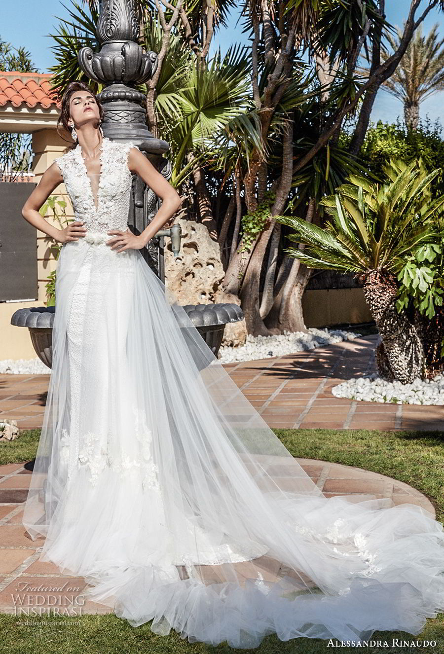 alessandra rinaudo 2018 bridal sleeveless deep v neck heavily embellished bodice elegant fit and flare wedding dress a line overskirt covered lace back chapel train (13) mv