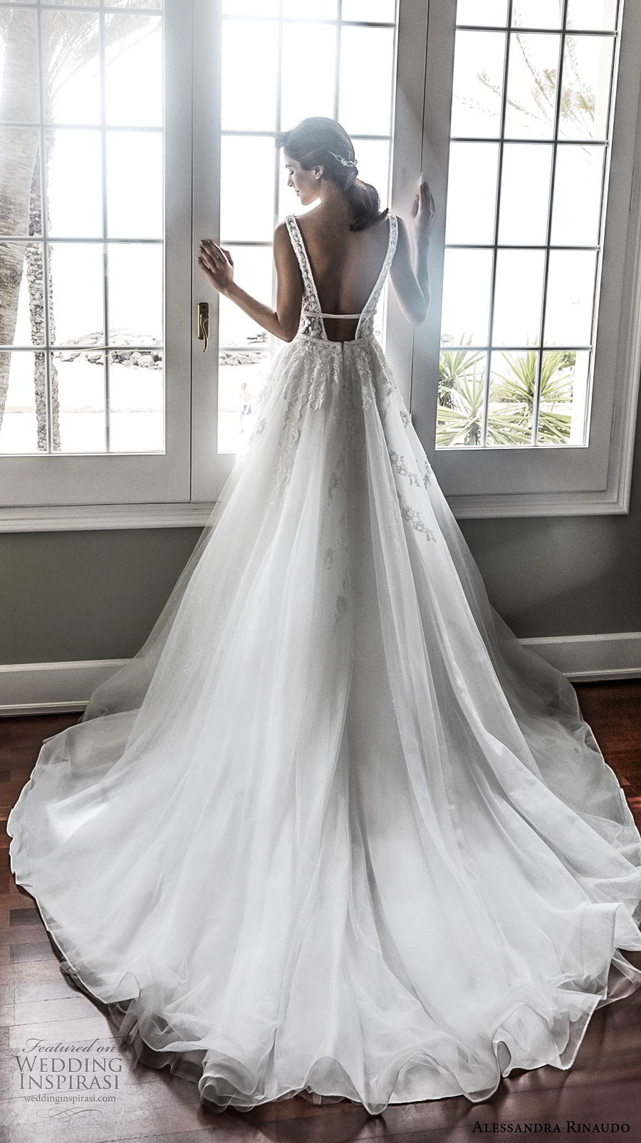 alessandra rinaudo 2018 bridal sleeveless deep v neckline heavily embellished bodice elegant romantic a line wedding dress open low back chapel train (35) bv