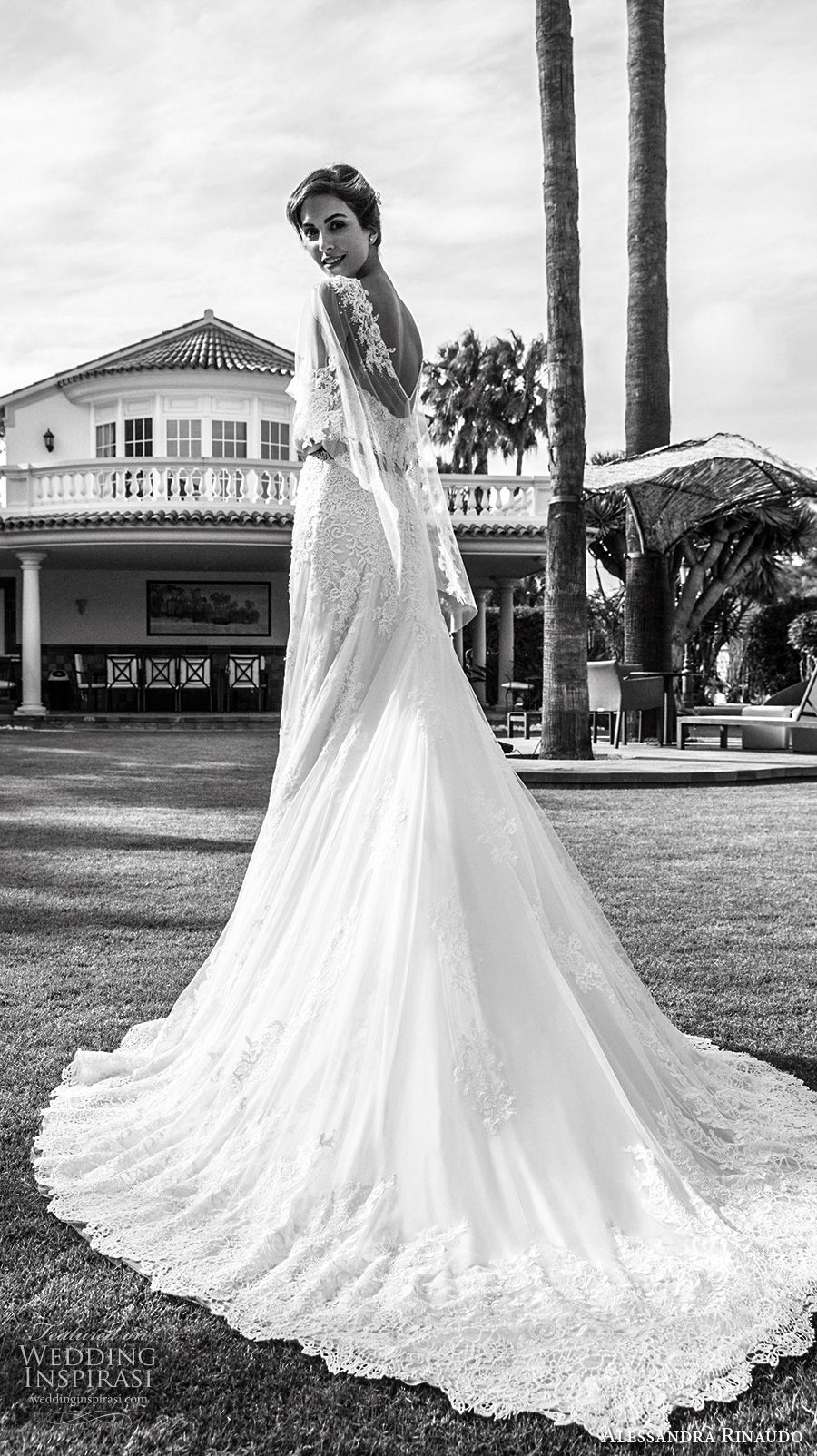 alessandra rinaudo 2018 bridal strapless sweetheart neckline crop top elegant romantic a line wedding dress with caplet chapel train (28) bv