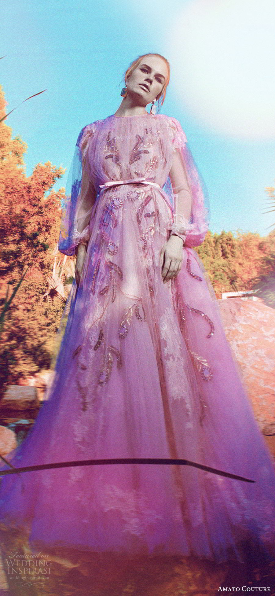 amato couture 2017 secret garden collection illusion bishop sleeves high neck illusion embellished a line dress blush (4) mv romantic