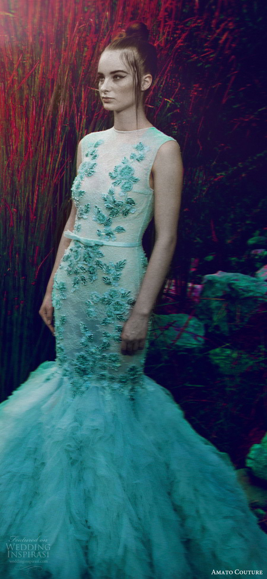 amato couture 2017 secret garden collection sleeveless high neck illusion embellished mint green mermaid dress (7) zv