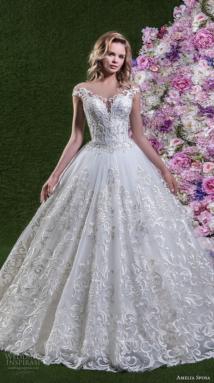 amelia sposa 2018 bridal cap sleeves off shoulder sweetheart neckline full embellishment princess ball gown wedding dress open v back chapel train (lorena) mv