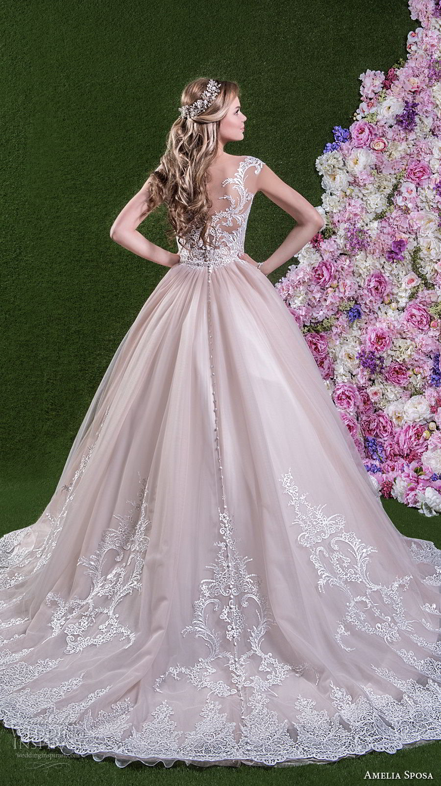 amelia sposa 2018 bridal cap sleeves sweetheart neckline heavily embellished bodice princess pink ball gown wedding dress lace back chapel train (leonarda) bv