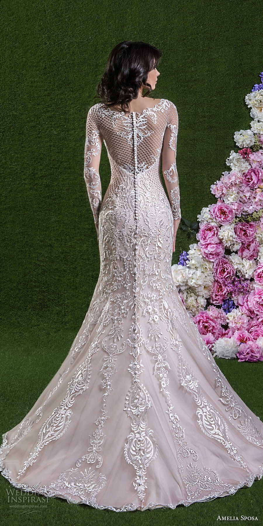 amelia sposa 2018 bridal long sleeves illusion bateau sweetheart neckline full embellishment elegant romantic pink trumpet wedding dress covered lace back medium train (cassandra) bv