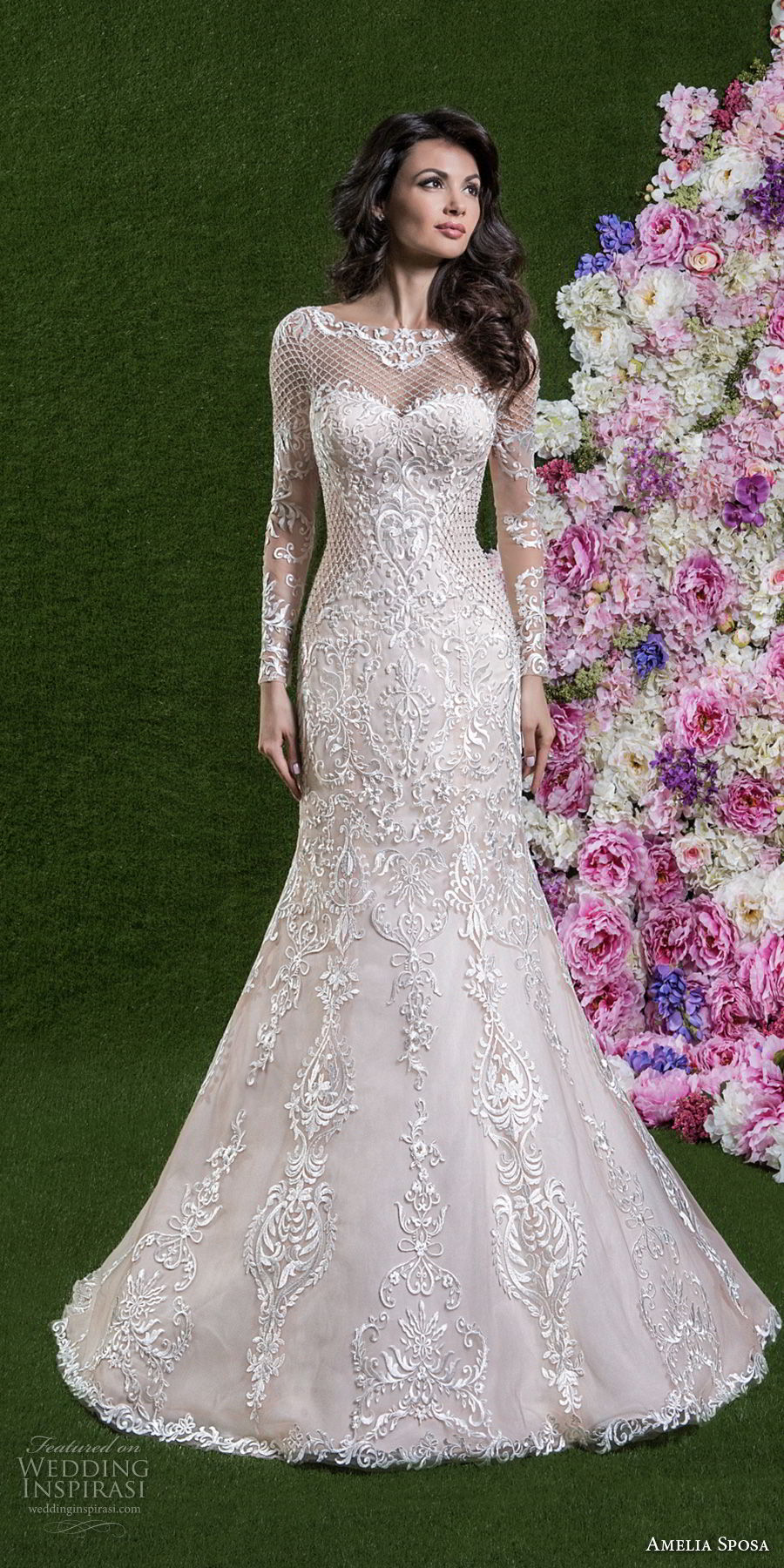 amelia sposa 2018 bridal long sleeves illusion bateau sweetheart neckline full embellishment elegant romantic pink trumpet wedding dress covered lace back medium train (cassandra) mv