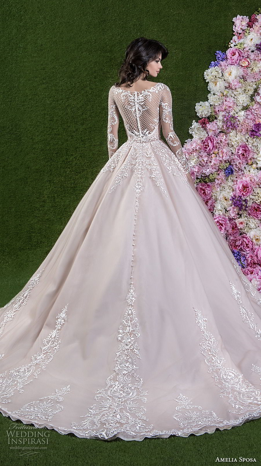 amelia sposa 2018 bridal long sleeves illusion bateau sweetheart neckline heavily embellished bodice princess pink a line wedding dress covered lace back chapel train (cassandra) bv