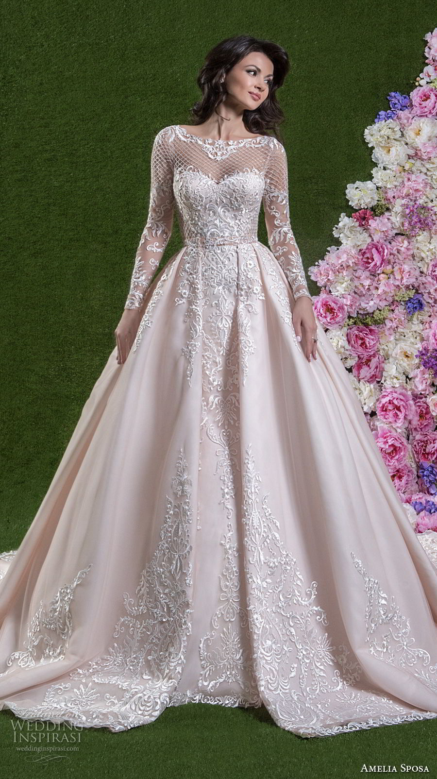 amelia sposa 2018 bridal long sleeves illusion bateau sweetheart neckline heavily embellished bodice princess pink a line wedding dress covered lace back chapel train (cassandra) mv