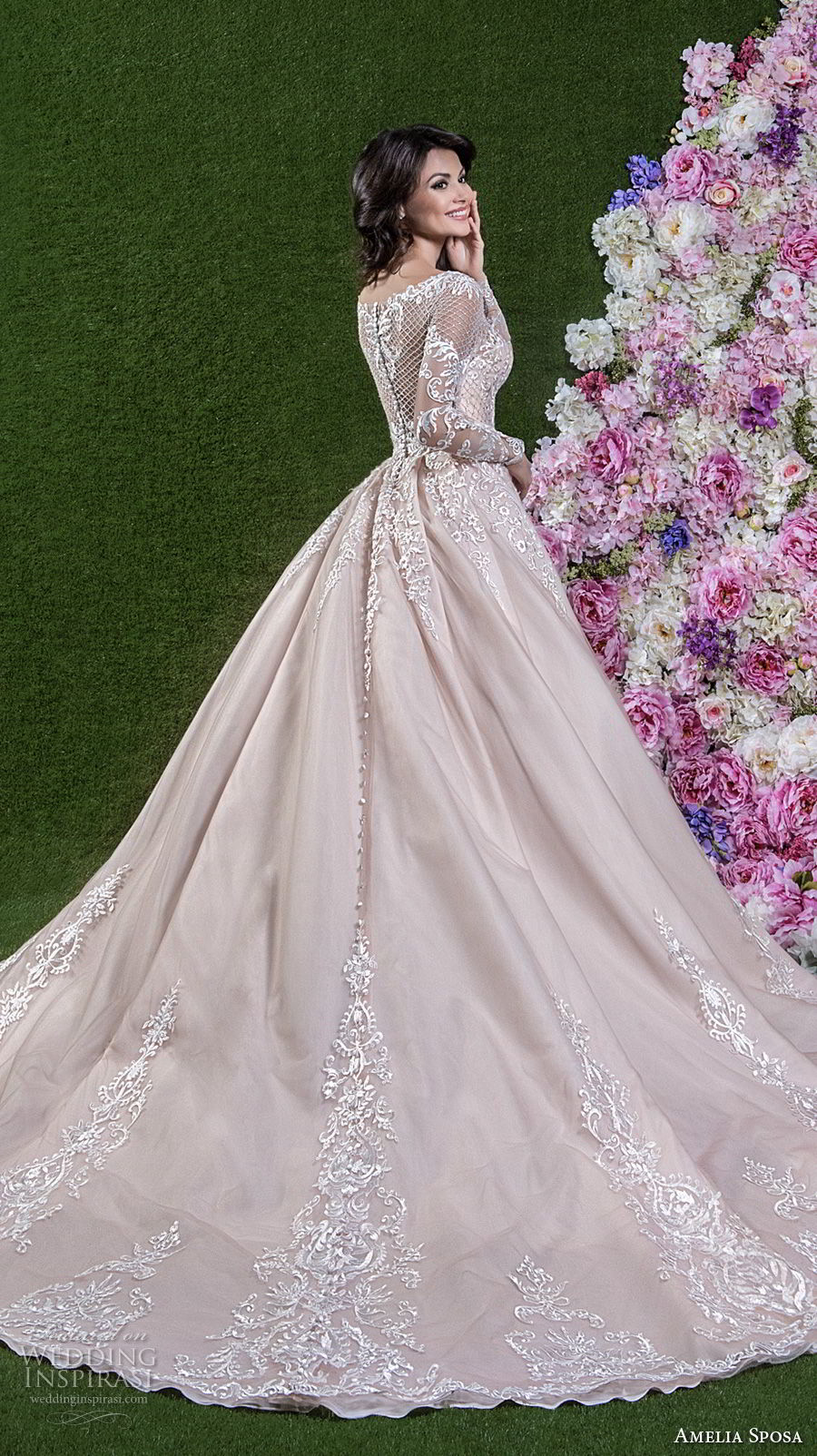 amelia sposa 2018 bridal long sleeves illusion bateau sweetheart neckline heavily embellished bodice princess pink a line wedding dress covered lace back chapel train (cassandra) sdv