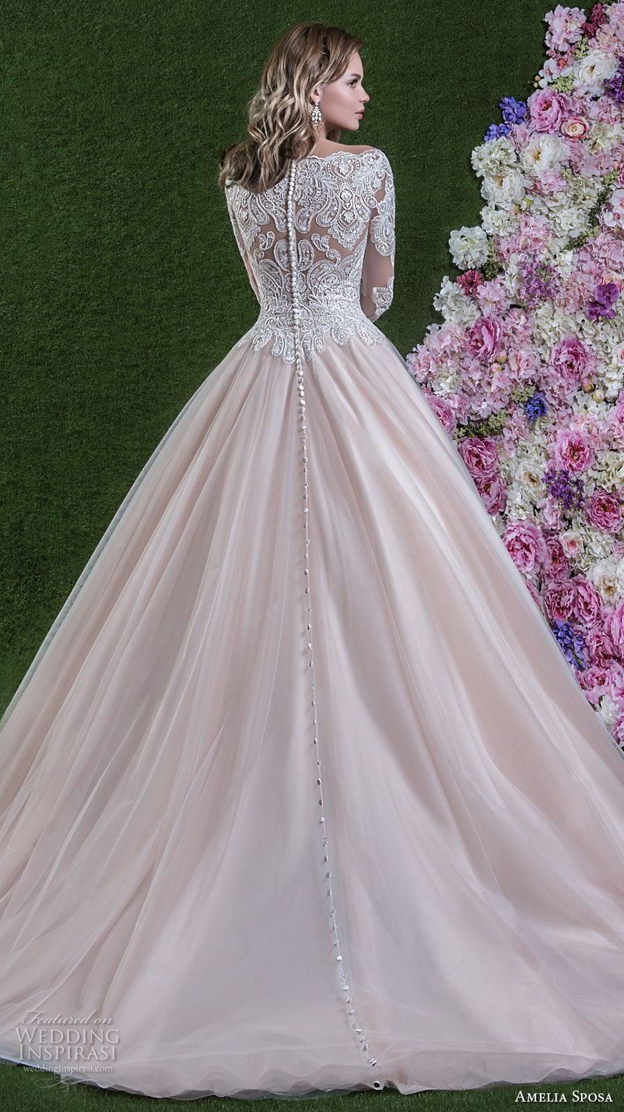 amelia sposa 2018 bridal long sleeves illusion bateau sweetheart neckline heavily embellished bodice princess pink a line wedding dress covered lace back chapel train (flavia) bv