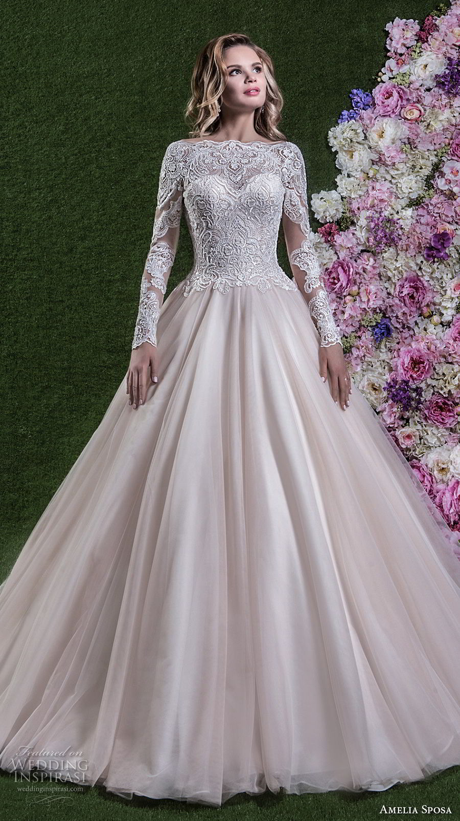 amelia sposa 2018 bridal long sleeves illusion bateau sweetheart neckline heavily embellished bodice princess pink a line wedding dress covered lace back chapel train (flavia) mv