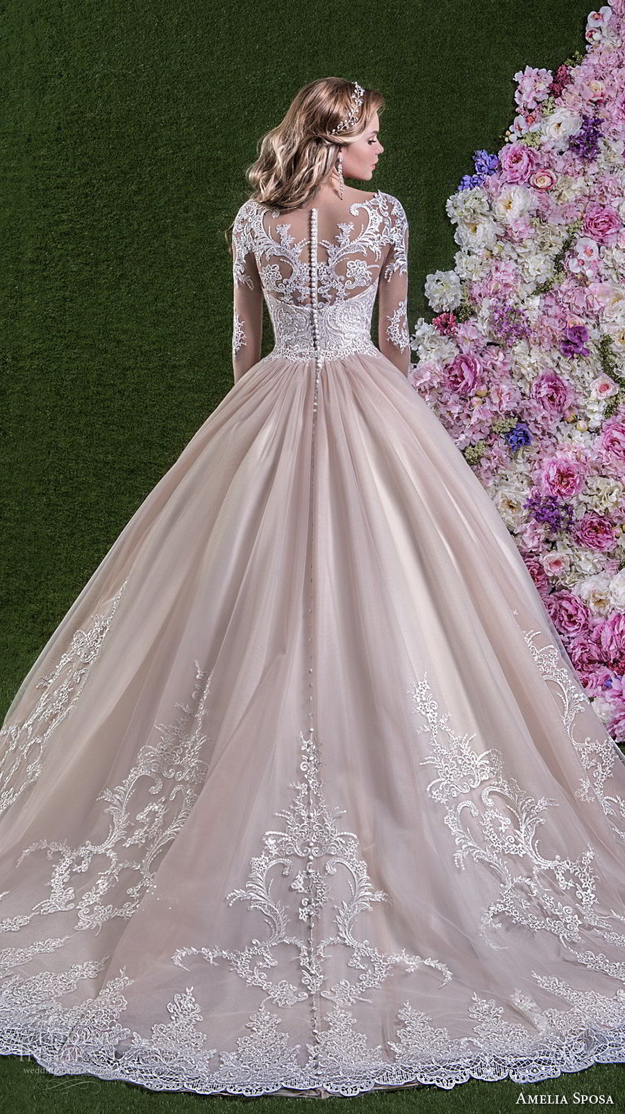 amelia sposa 2018 bridal long sleeves illusion boat sweetheart neckline heavily embellished bodice pink ball gown wedding dream lace back long train (rachele) bv