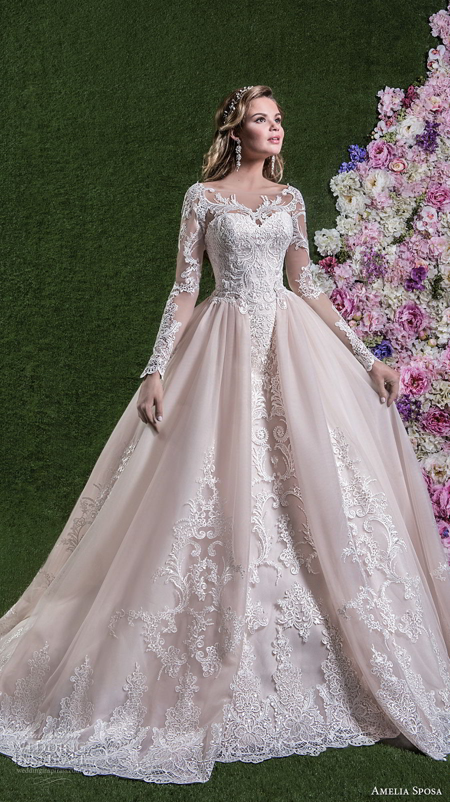 amelia sposa 2018 bridal long sleeves illusion boat sweetheart neckline heavily embellished bodice pink ball gown wedding dream lace back long train (rachele) mv