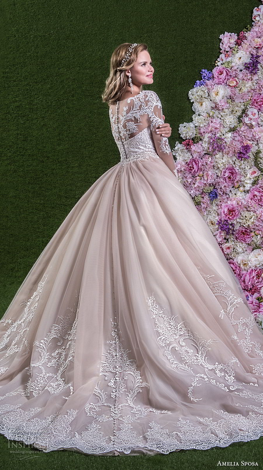 amelia sposa 2018 bridal long sleeves illusion boat sweetheart neckline heavily embellished bodice pink ball gown wedding dream lace back long train (rachele) sdv