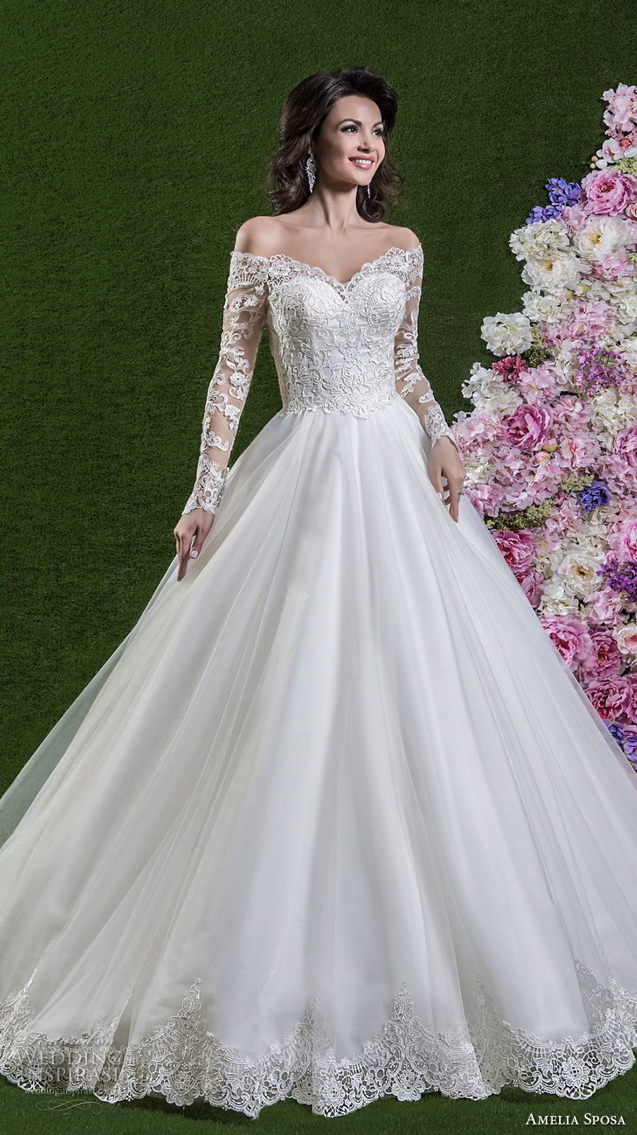 amelia sposa 2018 bridal long sleeves off the shoulder sweetheart neckline heavily embellished bodice romantic elegant a line wedding dress covered lace back chapel train (dolores) mv