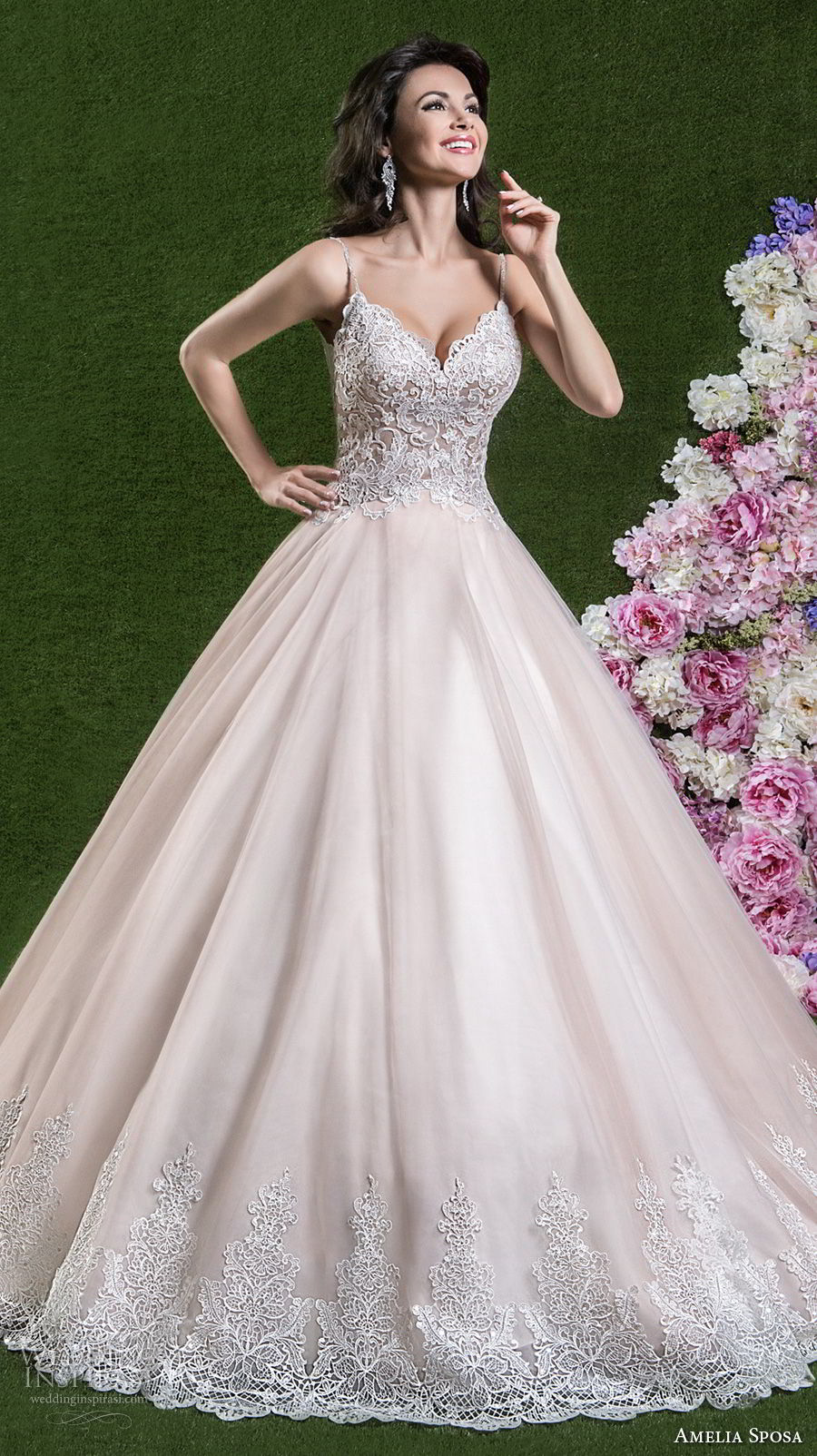 amelia sposa 2018 bridal spaghetti strap sweetheart neckline heavily embellished bodice romantic pink a line wedding dress open scoop back chapel train (berta) mv