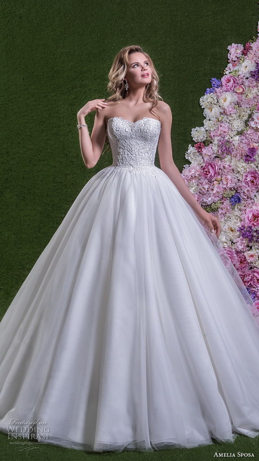 amelia sposa 2018 bridal strapless semi sweetheart neckline heavily embellished bodice romantic princess ball gown wedding dress chapel train (savina) mv