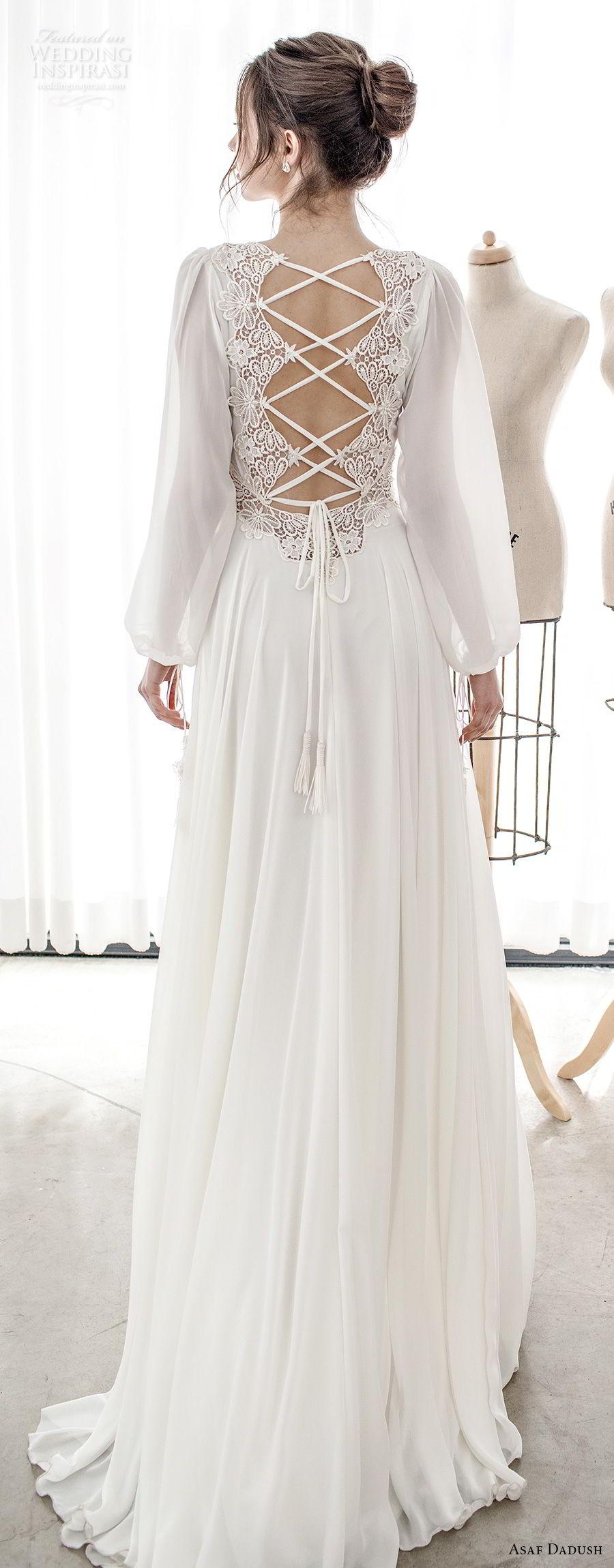 asaf dadush 2017 bridal long bishop sleeves v neck lighly embellished bodice romantic bohemian soft a  line wedding dress cross strap back sweep train (14) bv