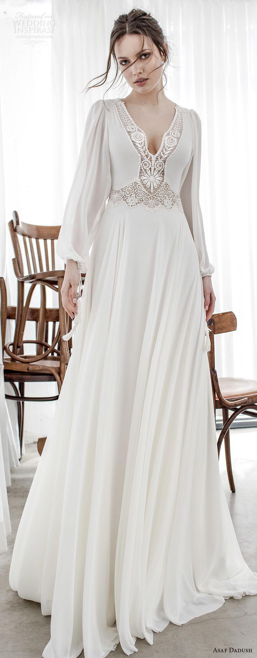 asaf dadush 2017 bridal long bishop sleeves v neck lighly embellished bodice romantic bohemian soft a  line wedding dress cross strap back sweep train (14) lv