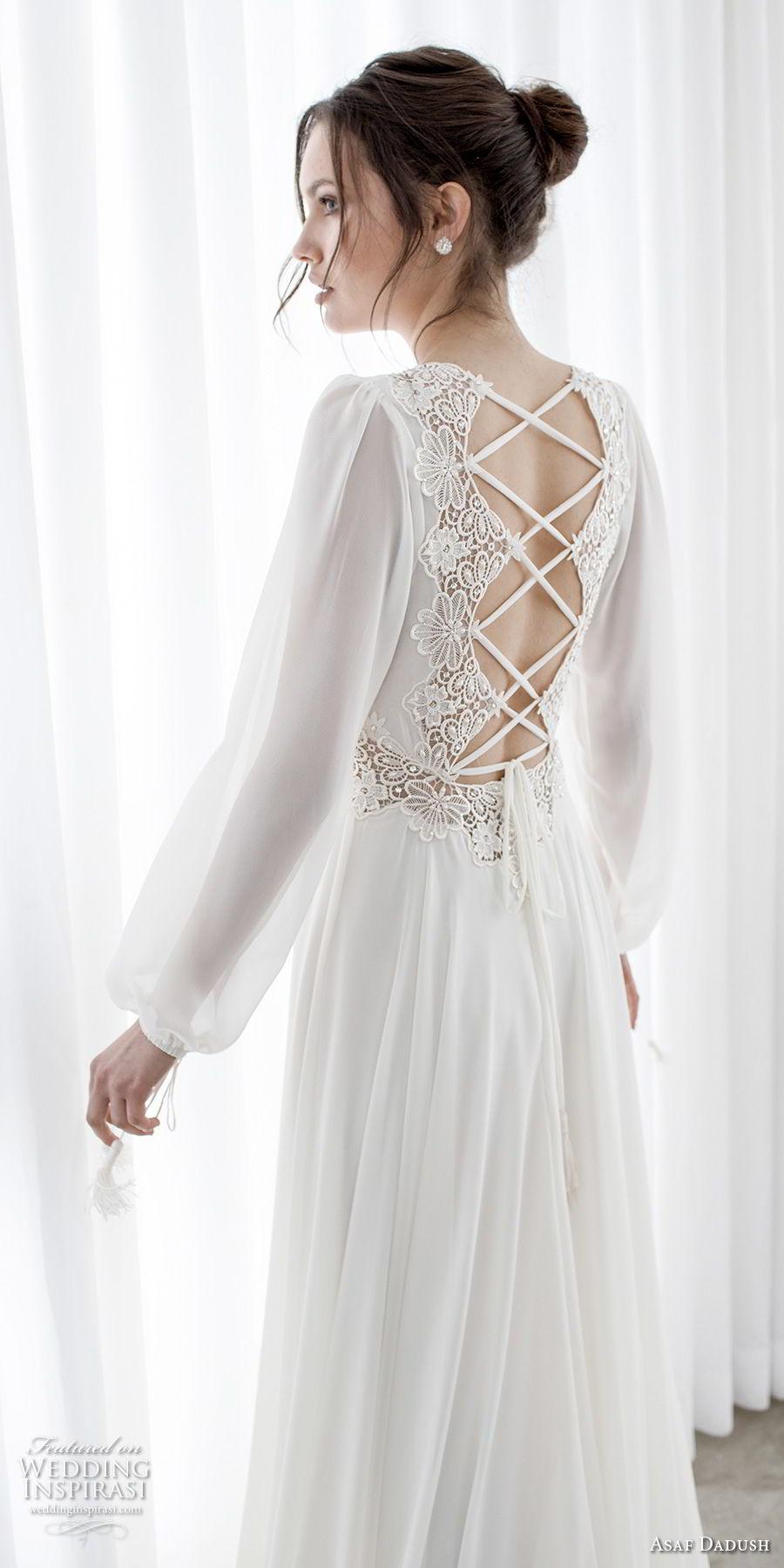 asaf dadush 2017 bridal long bishop sleeves v neck lighly embellished bodice romantic bohemian soft a  line wedding dress cross strap back sweep train (14) zbv