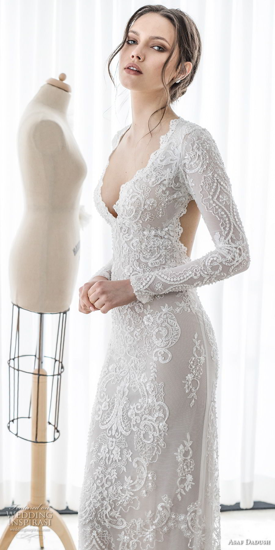 asaf dadush 2017 bridal long sleeves deep v sweetheart neckline full embellishment sexy elegant sheath wedding dress keyhole back sweep train (06) mv