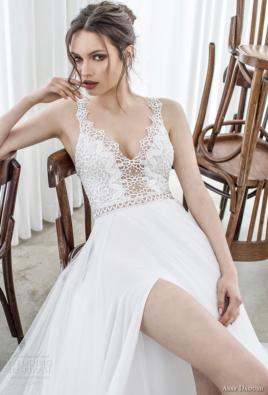 asaf dadush 2017 bridal sleeveless embroidered strap v neck heavily embellished bodice high slit romantic sexy soft a line wedding dress sweep train (09) mv