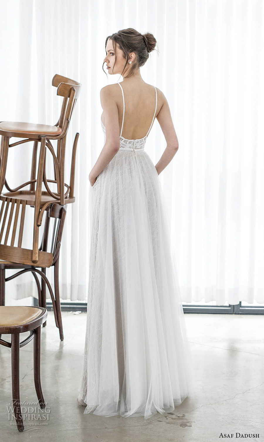 asaf dadush 2017 bridal sleeveless halter neck heavily embellished bodice romantic soft a line wedding dress with pockets open back sweep train (13) bv