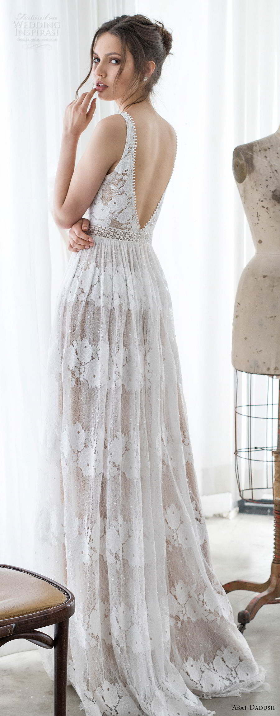 asaf dadush 2017 bridal sleeveless v neck full embellishment romantic soft a  line wedding dress open v back sweep train (12) bv