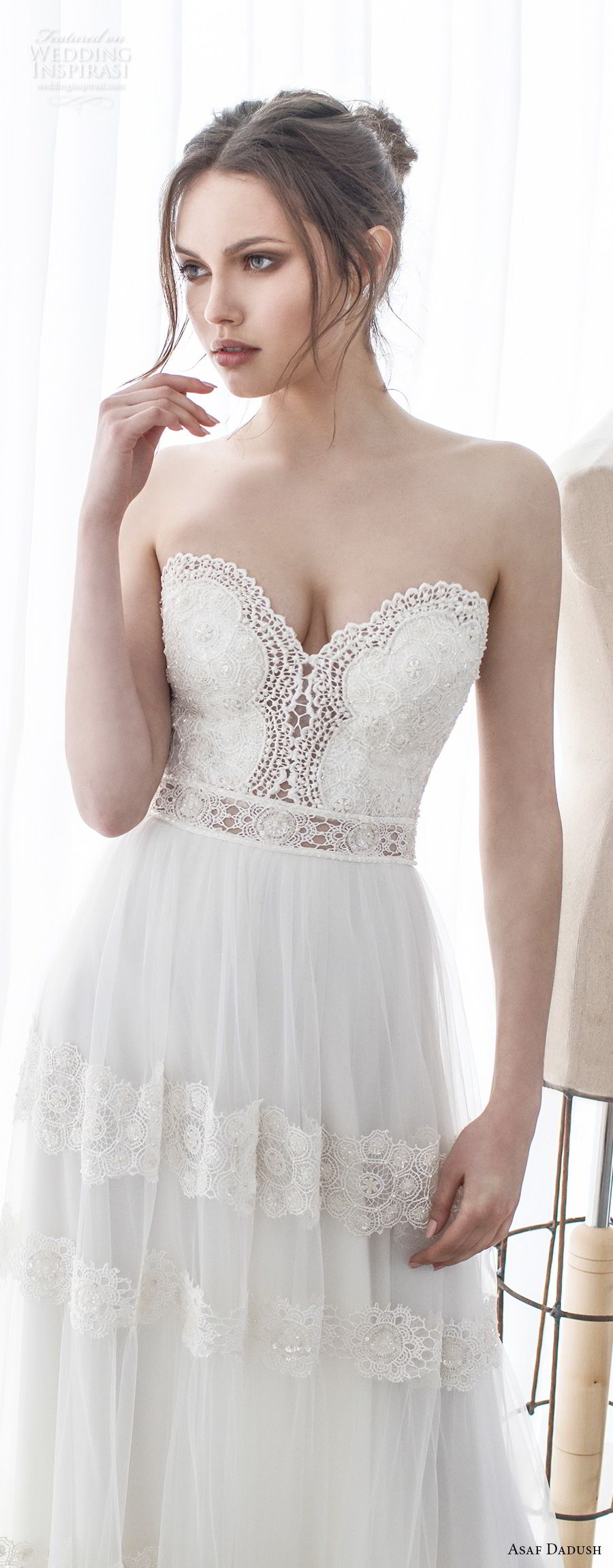 asaf dadush 2017 bridal strapless sweetheart neckline heavily embellished bodice romantic soft a line wedding dress sweep train (10) zv