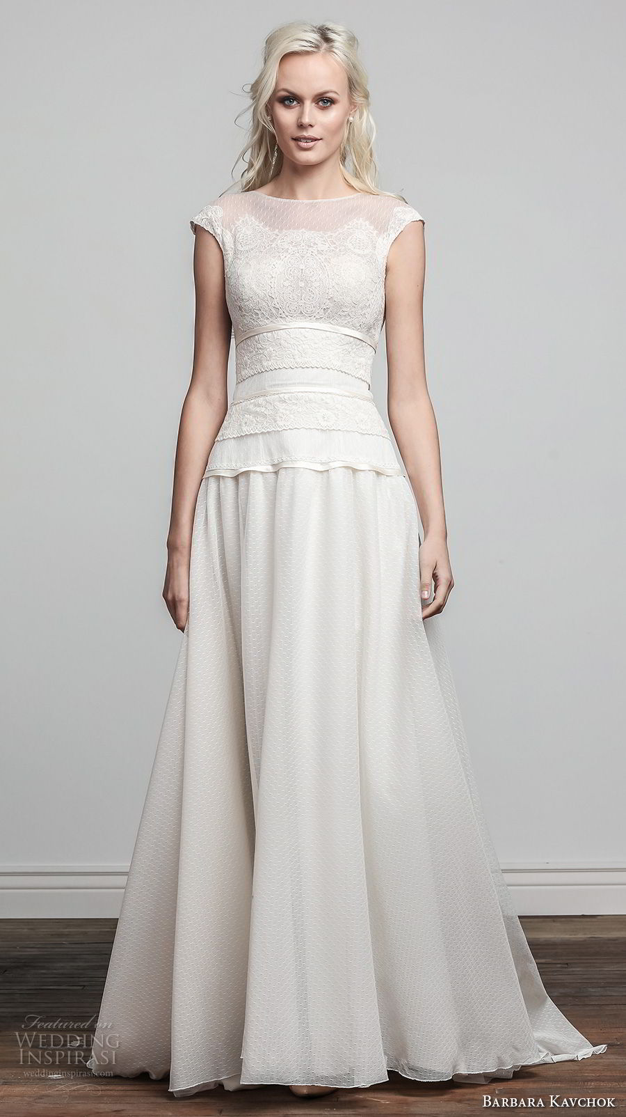 barbara kavchok spring 2018 bridal cap sleeves bateau neck heavily embellished bodice romantic soft a line wedding dress coverd lace back sweep back (samantha) fv