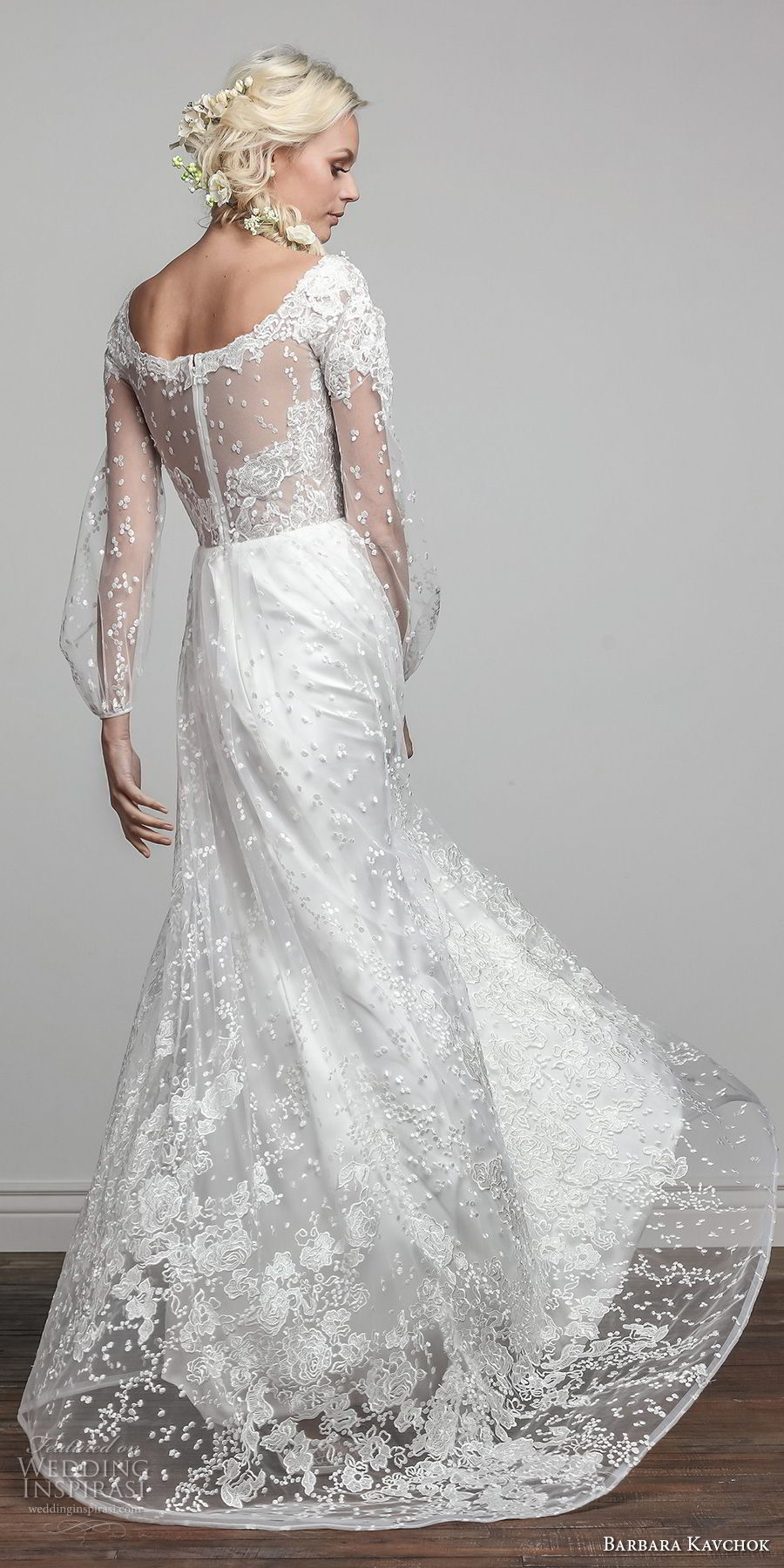 barbara kavchok spring 2018 bridal long sleeves scoop neckline full embellishment vintage elegant soft a line wedding dress sheer back sweep train (wynonna) bv