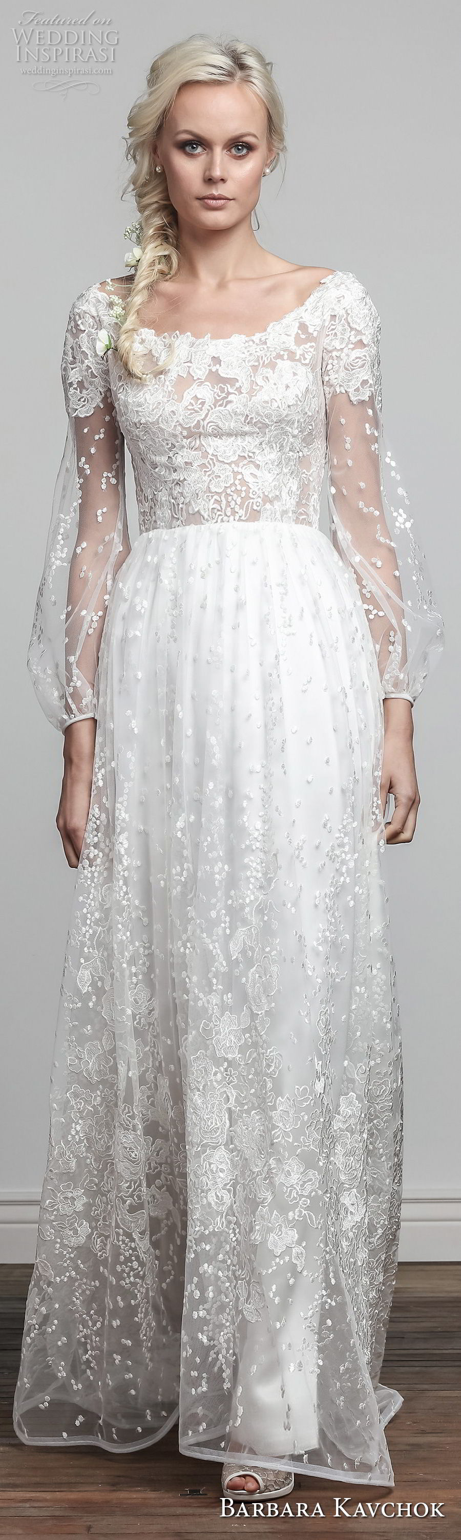 barbara kavchok spring 2018 bridal long sleeves scoop neckline full embellishment vintage elegant soft a line wedding dress sheer back sweep train (wynonna) lv