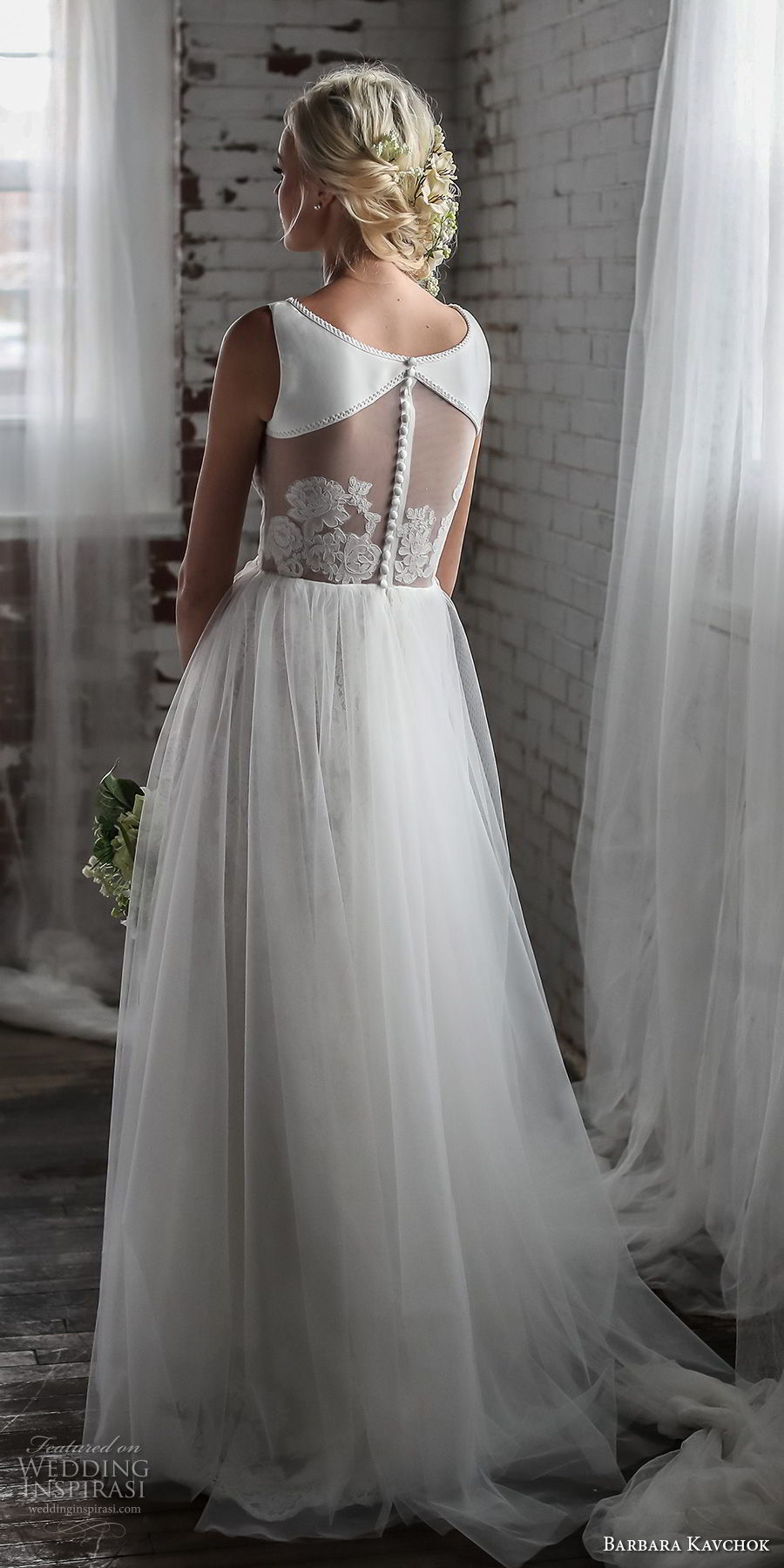 barbara kavchok spring 2018 bridal sleeveless bateau neck lightly embellished simple bodice tulle skirt romantic soft a line wedding dress sheer button back sweep train (melody) bv