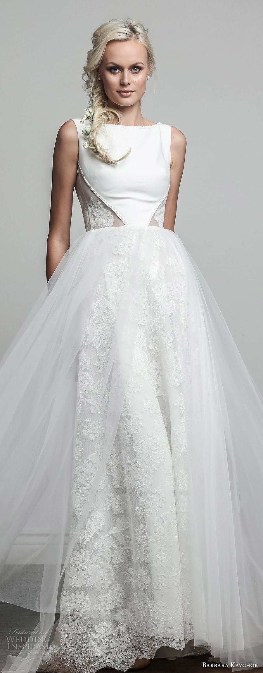 barbara kavchok spring 2018 bridal sleeveless bateau neck lightly embellished simple bodice tulle skirt romantic soft a line wedding dress sheer button back sweep train (melody) lv