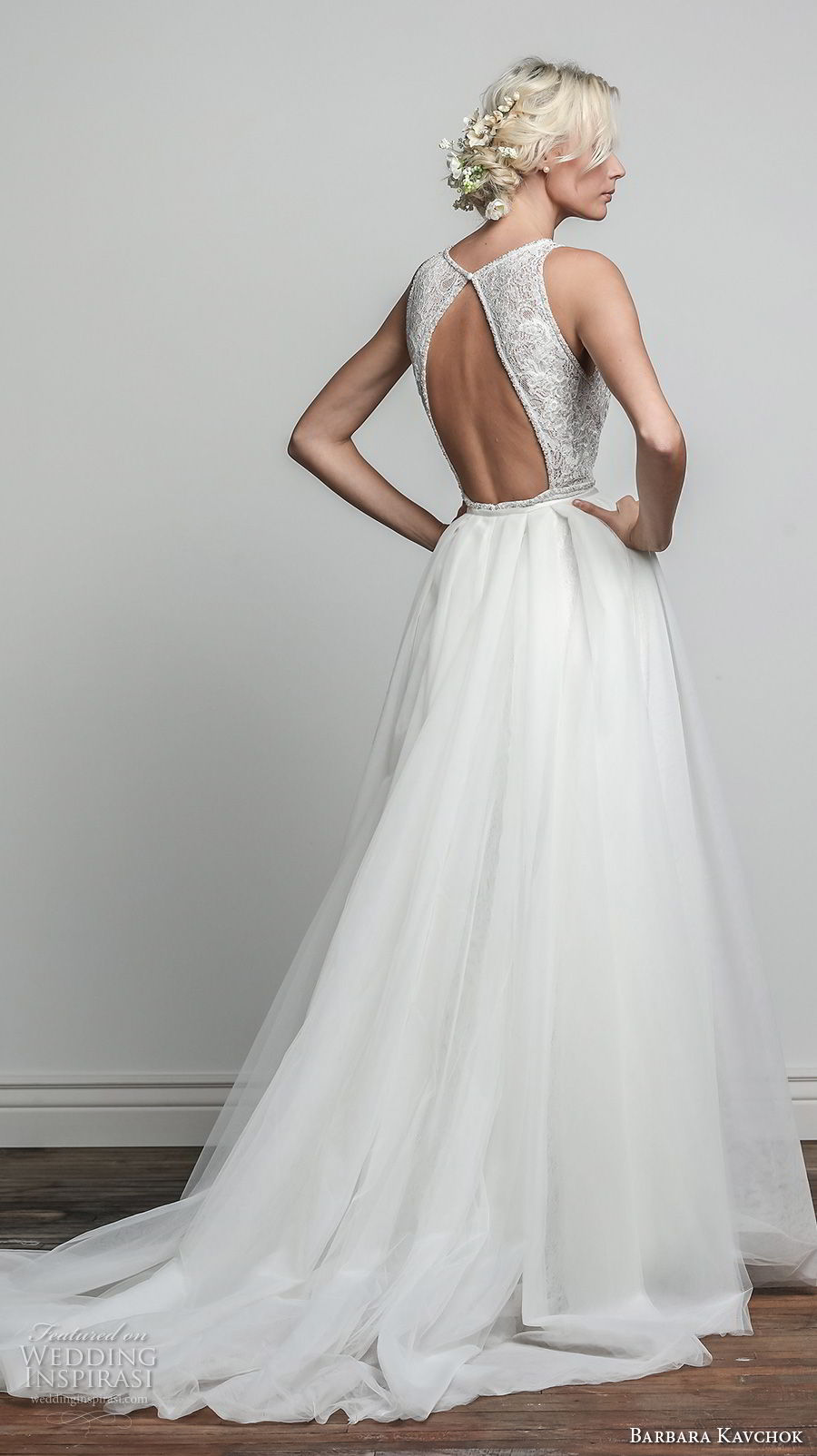 barbara kavchok spring 2018 bridal sleeveless deep plunging v neck full embellishment elegant romantic sheath wedding dress a line overskirt keyhole back chapel train (iris) bv