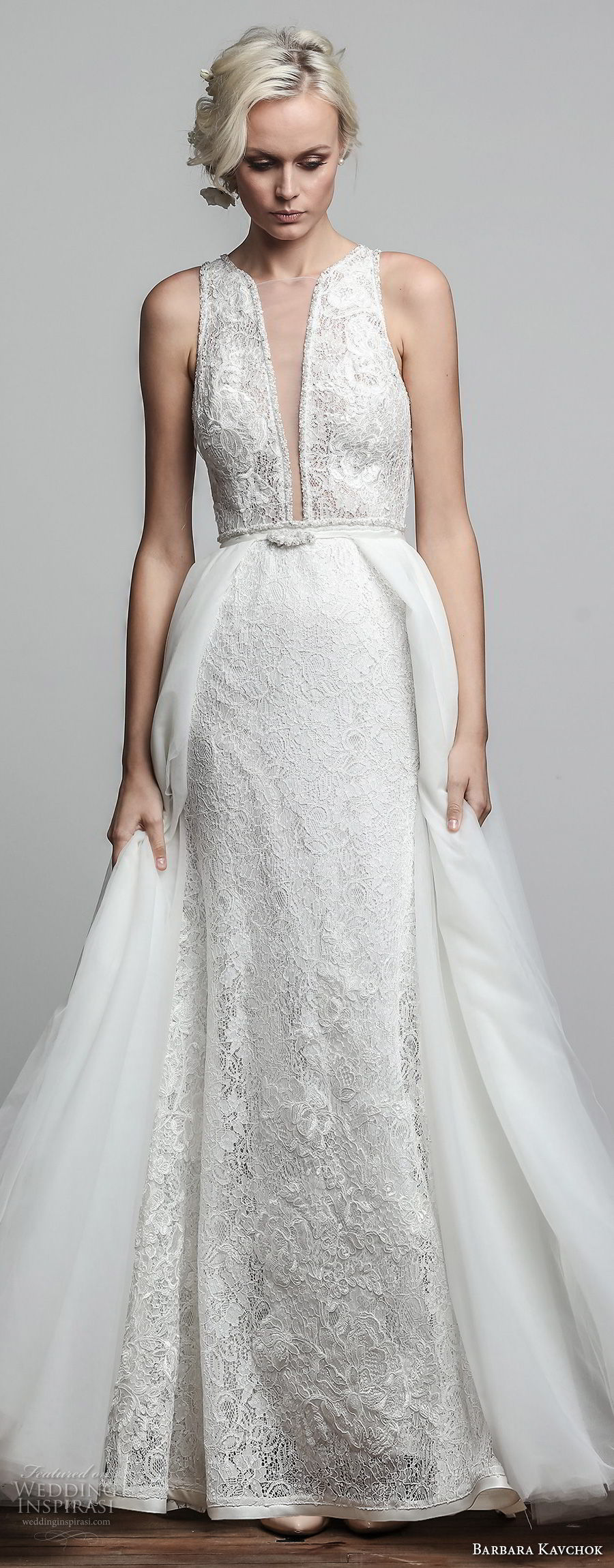 barbara kavchok spring 2018 bridal sleeveless deep plunging v neck full embellishment elegant romantic sheath wedding dress a line overskirt keyhole back chapel train (iris) mv