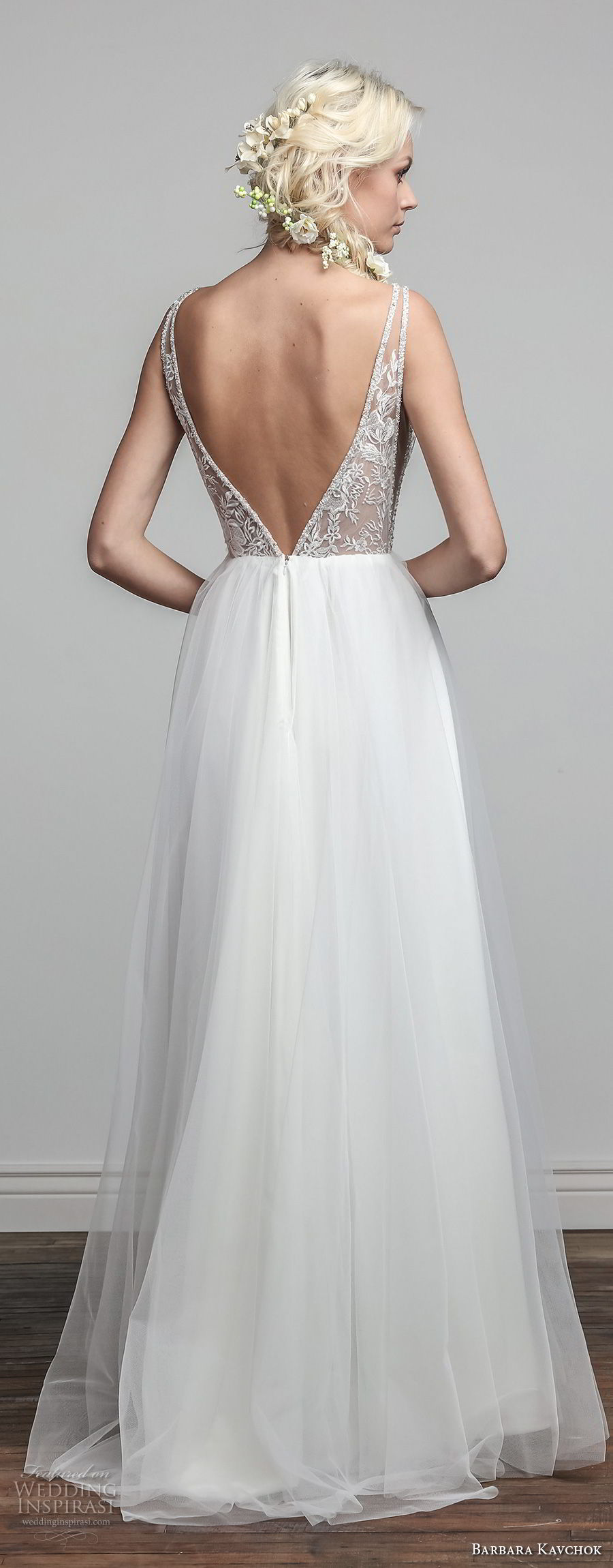 barbara kavchok spring 2018 bridal sleeveless deep v neck heavily embellished bodice elegant romantic a line wedding dress open v back sweep train (ivy) bv