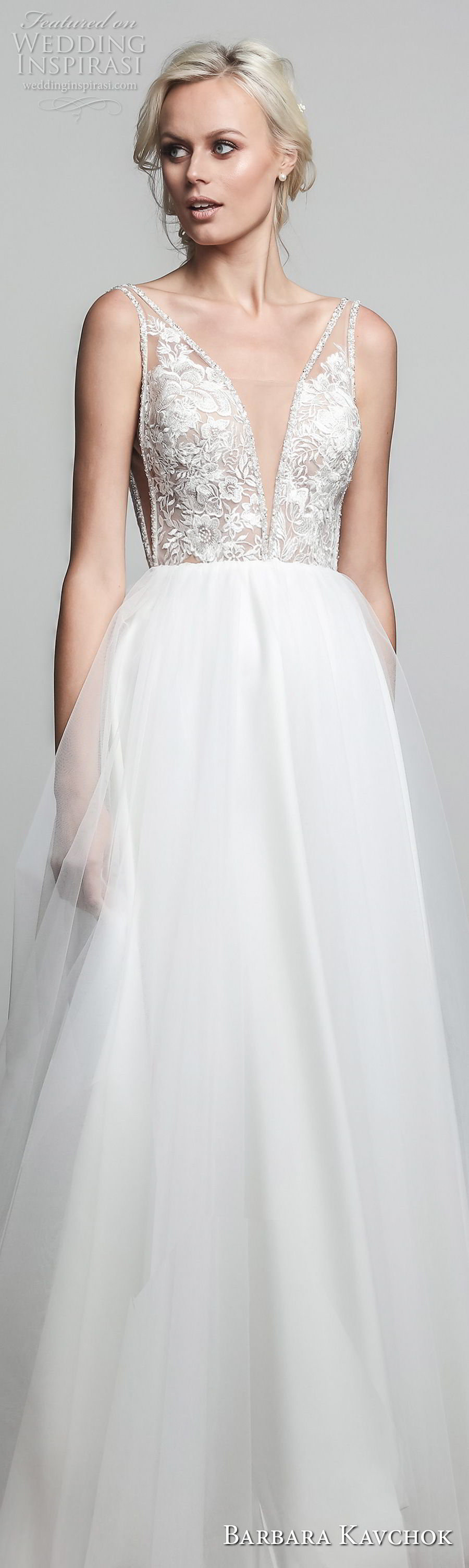 barbara kavchok spring 2018 bridal sleeveless deep v neck heavily embellished bodice elegant romantic a line wedding dress open v back sweep train (ivy) lv