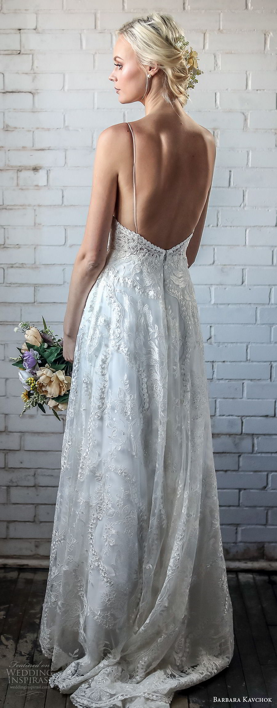 barbara kavchok spring 2018 bridal spaghetti strap sweetheart neckline full embellishment elegant romantic soft a line wedding dress open back sweep train (jessica) bv