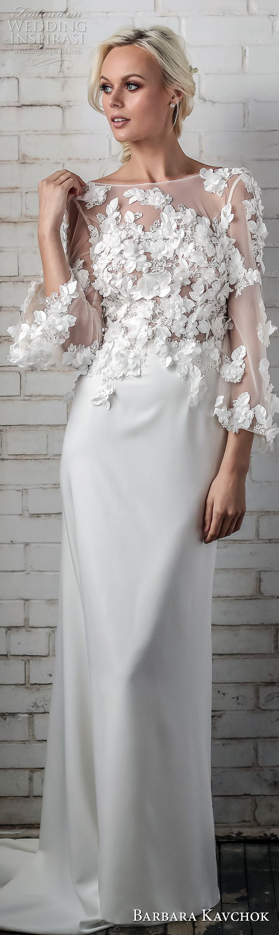 barbara kavchok spring 2018 bridal three quarter sleeves bateau neck heavily embellished bodice elegant sheath wedding dress mid scoop back sweep train (meesha) lv