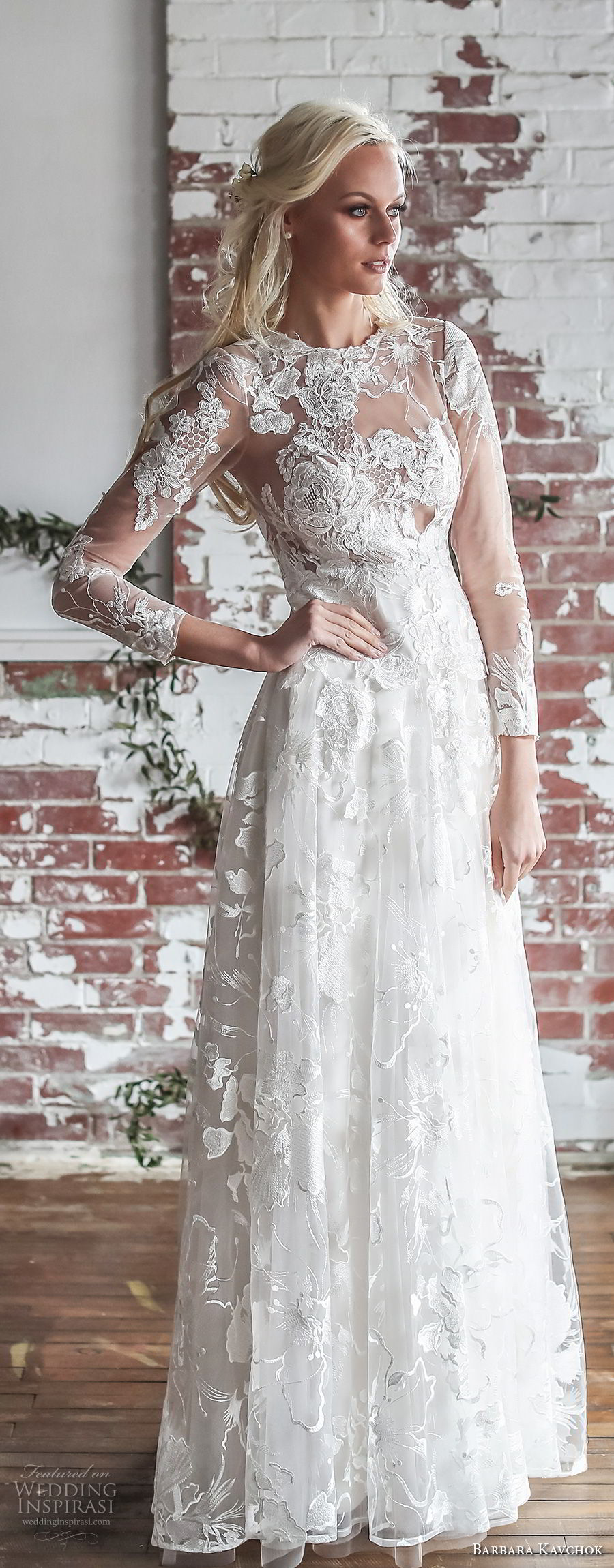 barbara kavchok spring 2018 bridal three quarter sleeves bateau neckline full embellishment elegant romantic soft a line wedding dress sheer lace back sweep train (camille) lv