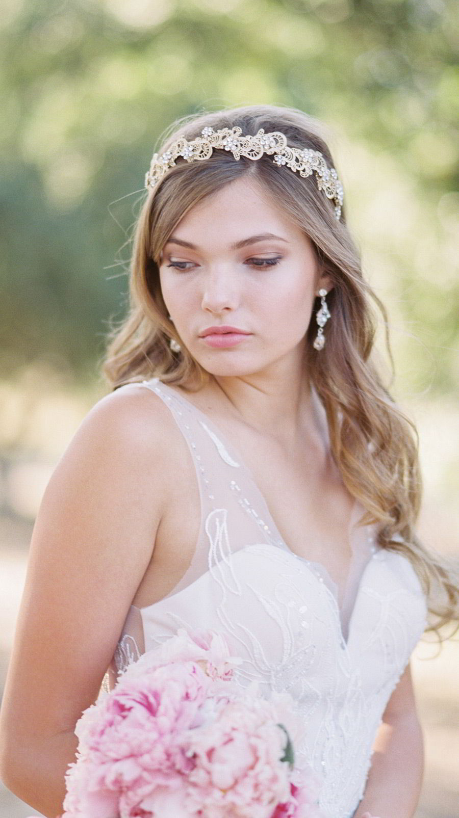 bel aire bridal accessories 6713 rustic gold headpiece rhinestone flowers drop earrings romantic wedding dress main