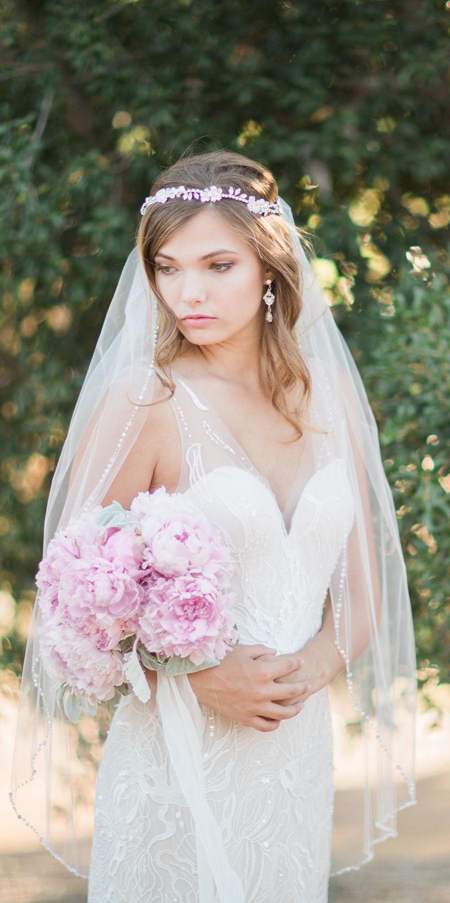 bel aire bridal accessories 6742 rhinestone headpiece halo veil