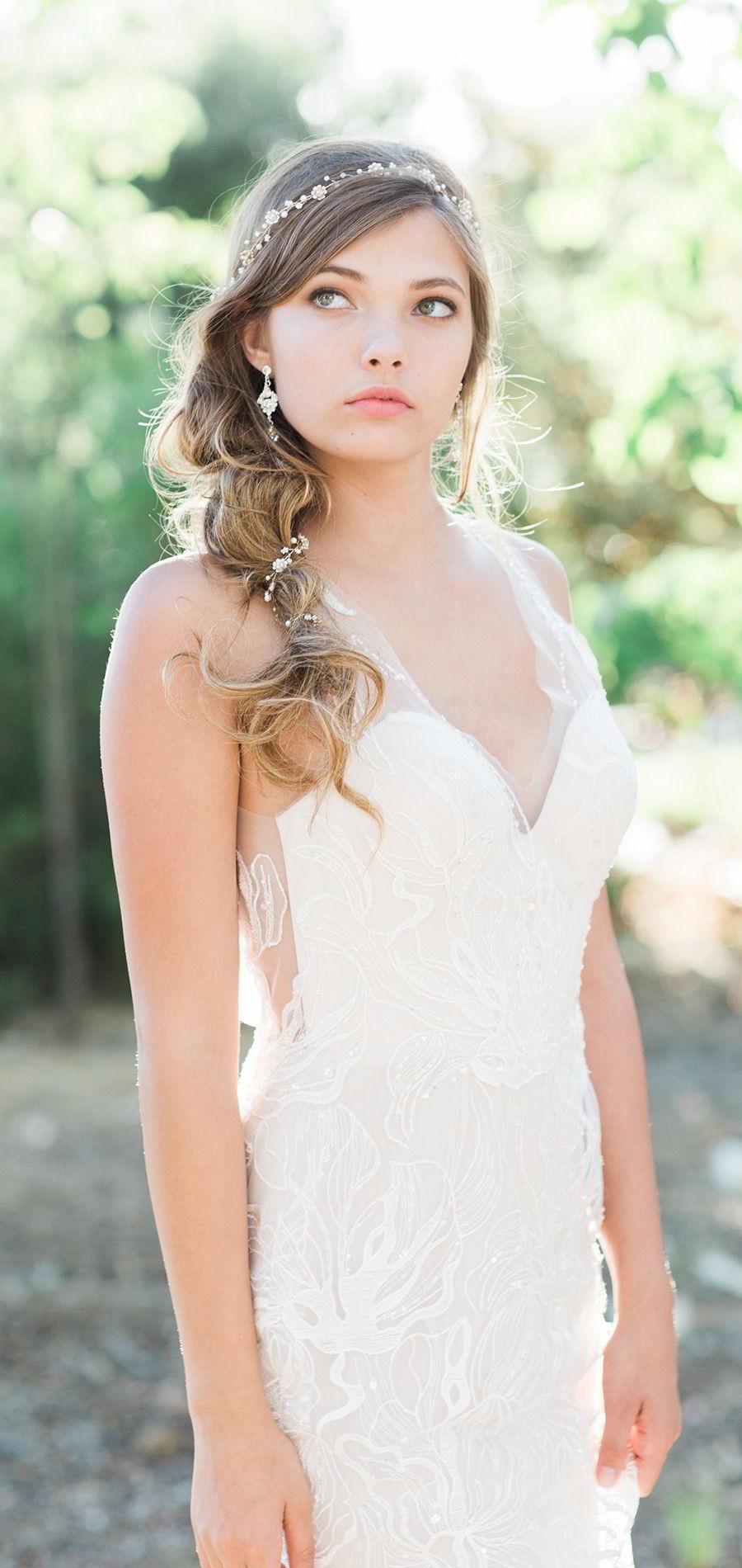 bel aire bridal accessories 6751 delicate hair vine accessory v neck wedding dress